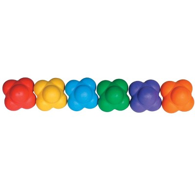 Sportime React-2-Balls with Erratic Bounce, Assorted Colors, set of 6