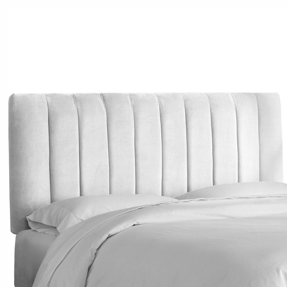 California King Channel Seam Headboard White Velvet - Project 62