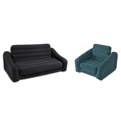 Intex Inflatable Queen Pull Out Sofa Bed + Inflatable Pull Out Chair Sleeper  : Target