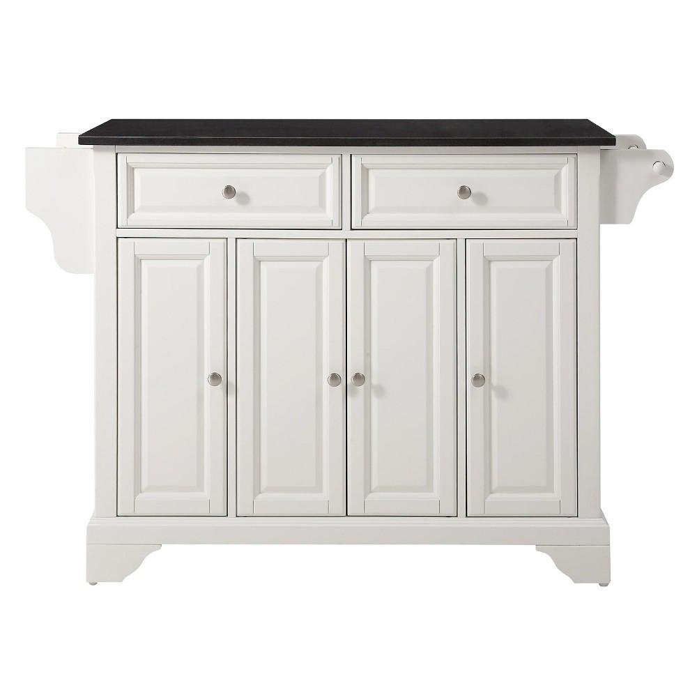 LaFayette Solid Black Granite Top Kitchen Island - White - Crosley