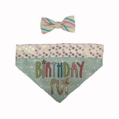 Birthday Pup Bandana with Bow Tie Collar Slide Dog Costume Sets - M/L - Boots & Barkley™