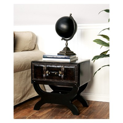 Faux Leather Trunk End Table Brown   Olivia U0026 May
