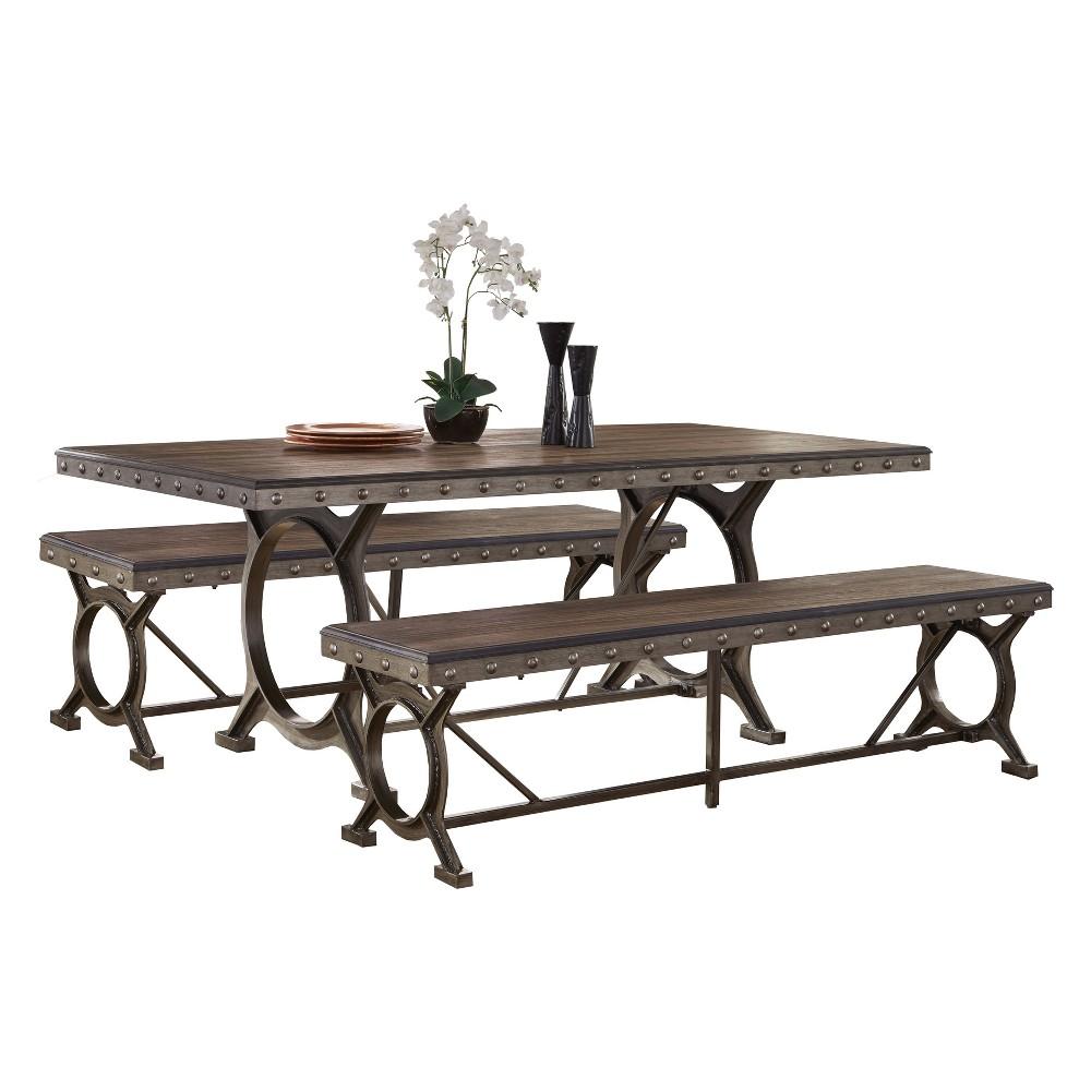 Paddock 3 - Piece Wood & Metal Dining Set - Brushed Steel/Distressed Brown - Hillsdale Furniture