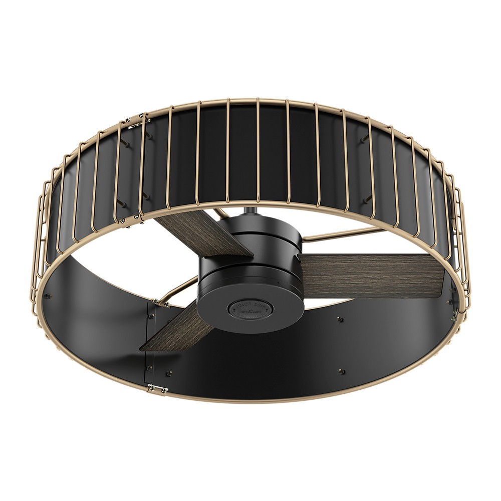 "Image of ""30"""" Vault Matte Black and Modern Brass Ceiling Fan with Handheld Remote - Hunter Fan"""