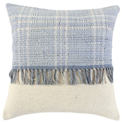 """18""""x18"""" Polyester Filled Color Blocked Square Throw Pillow Blue - Rizzy Home"""