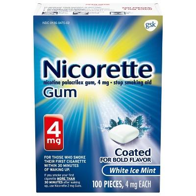 Nicorette 4mg Gum Stop Smoking Aid - White Ice Mint