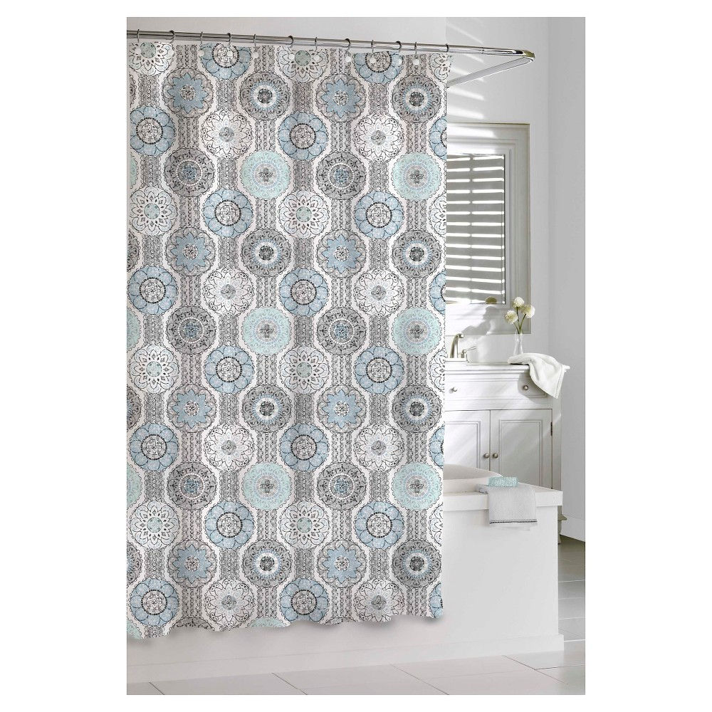 Kassatex Urban Tiles Shower Curtain, Blue/Gray