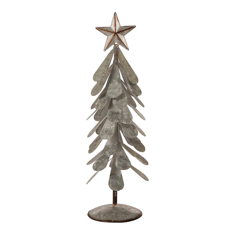 "Image of ""18"""" Iron Galvanized Christmas Tree Décor - Glitzhome, Gray"""