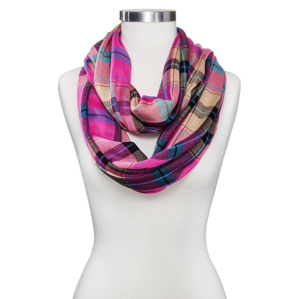 Women's Infinity Fashion Scarf Fuchsia (Pink) Plaid - Sylvia Alexander