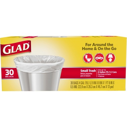 Glad Small Trash Bags 4 Gallon - White - 30ct - image 1 of 4