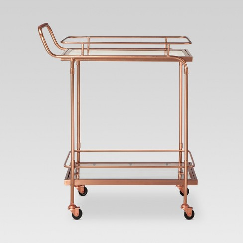Metal Gl And Leather Bar Cart Rose Gold Threshold