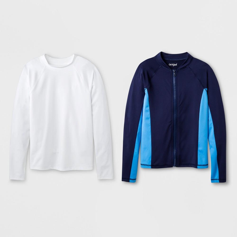Boys' 2pc Long Sleeve Rash Guard Set - Cat & Jack Blue/White XS
