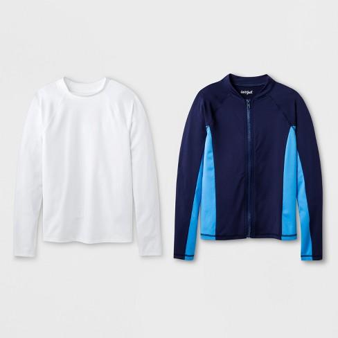 ee2034d6ebda7 Boys' 2pc Long Sleeve Rash Guard Set - Cat & Jack™ Blue/White : Target