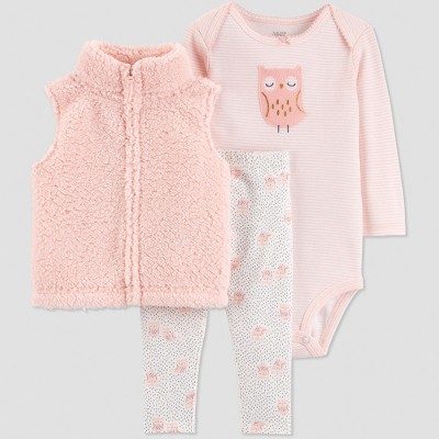 Baby Girls' 3pc Sherpa Owl Vest Set - Just One You® made by carter's Peach/White 6M