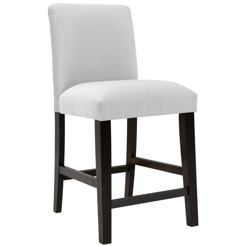 Aster Diamond Tufted Back Counter Height Barstool White Velvet Skyline Furniture