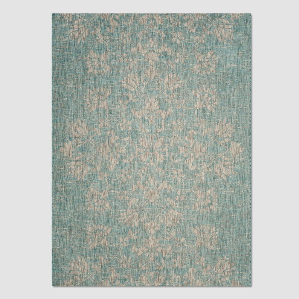 Kira 8' x 11' Outdoor Rug Aqua/Gray (Blue/Gray) - Safavieh