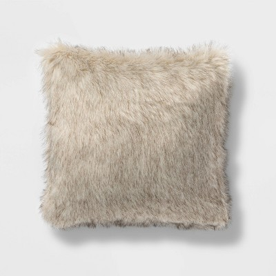 Square Faux Fur Decorative Throw Pillow Tan/Neutral - Threshold™