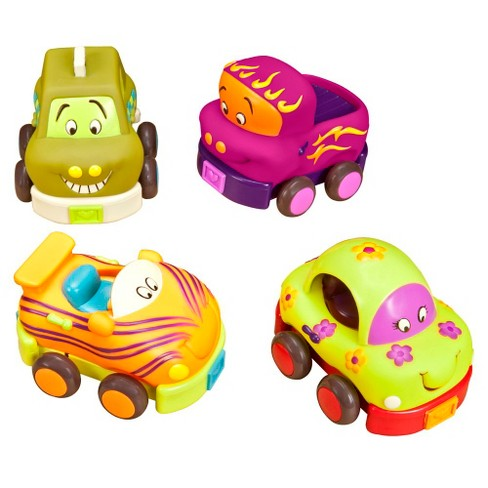 B. toys 4 Pull-Back Toy Vehicles - Wheeee-ls! - image 1 of 4