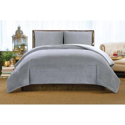 Christian Siriano Crinkle Velvet King Comforter Set Platinum
