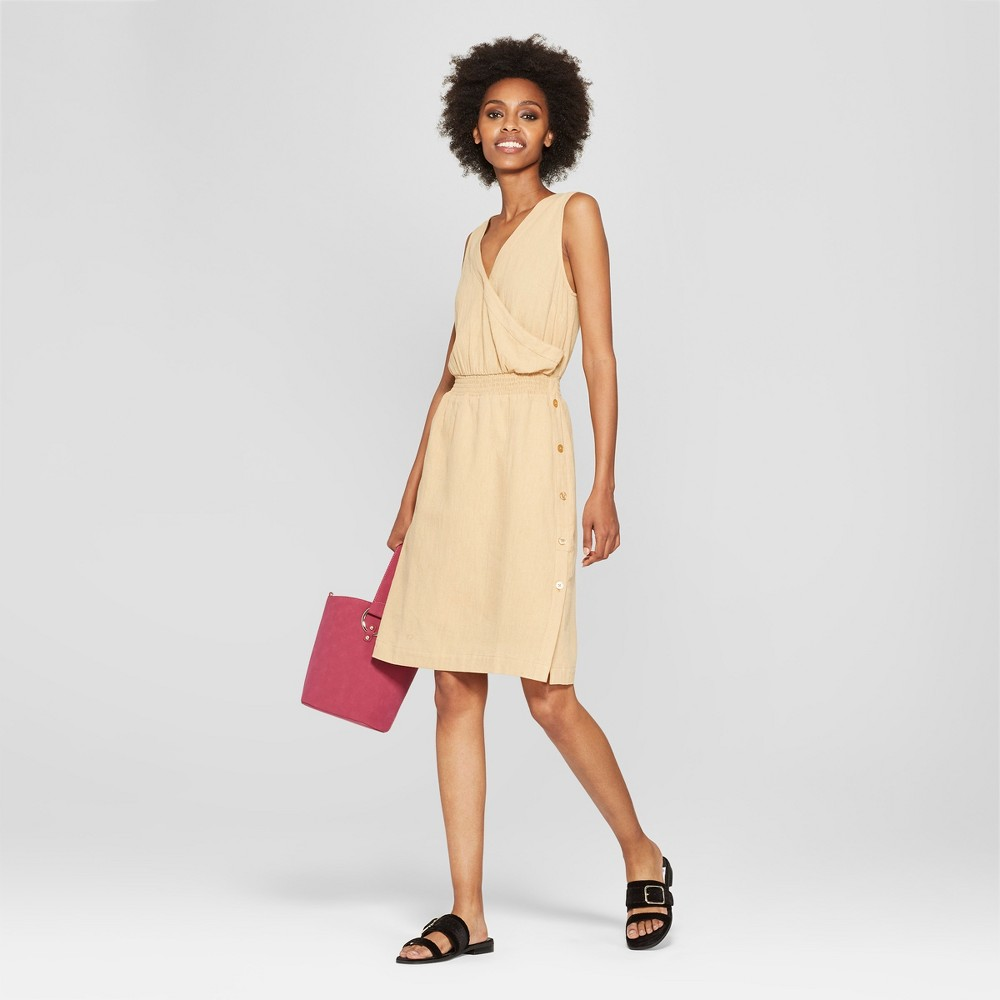 Women S Wrap Button Linen Dress Mossimo 8482 Tan Xl