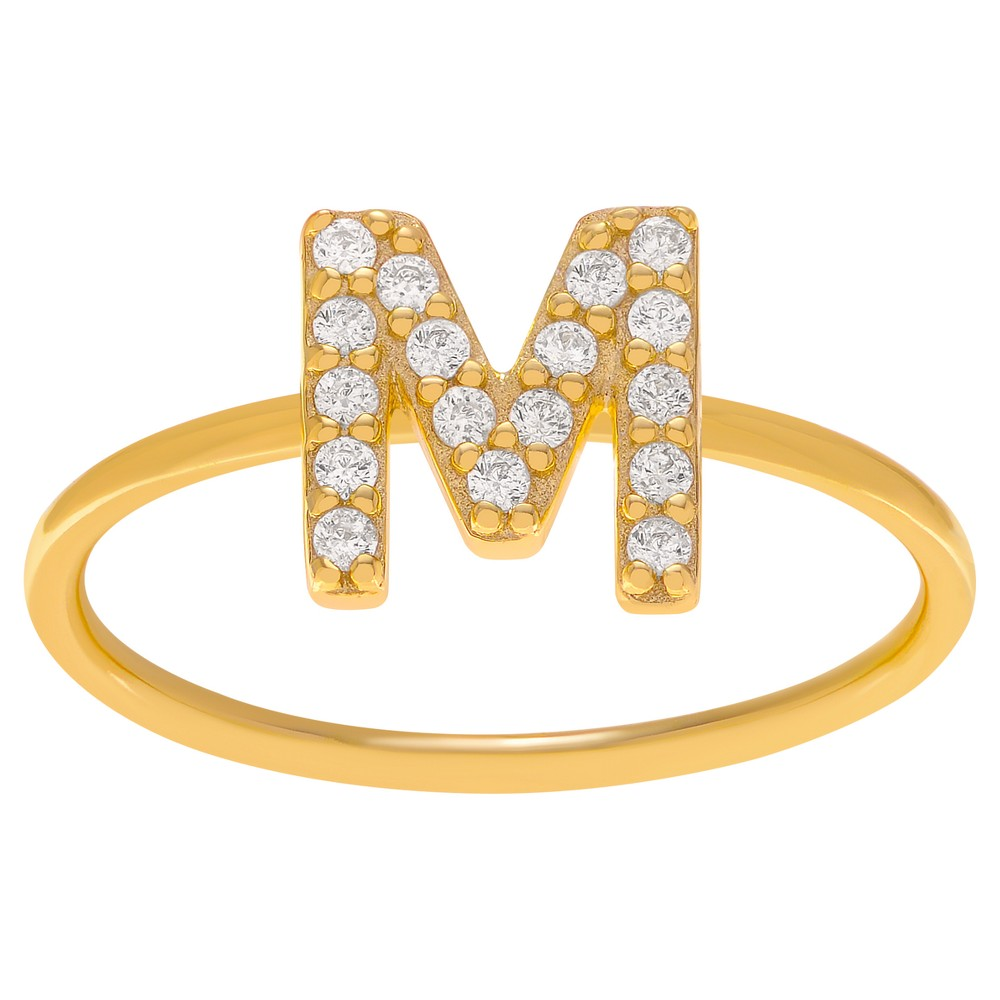 1/6 CT. T.W. Round-cut CZ Initial M Pave Set Ring in Sterling Silver - Gold, 7, Girl's, Gold Letter - M
