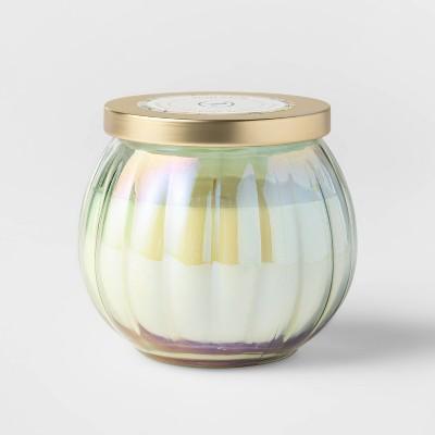 14oz Lidded Green Depression Glass Jar Oasis Palm Candle - Opalhouse™