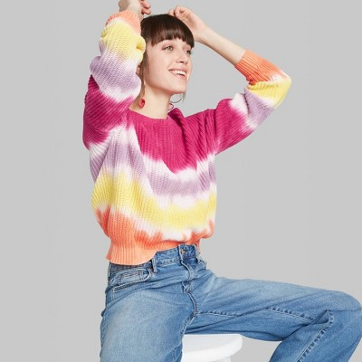 Women's Crewneck Oversized Tie-Dye Pullover Sweater - Wild Fable™ Pink/White