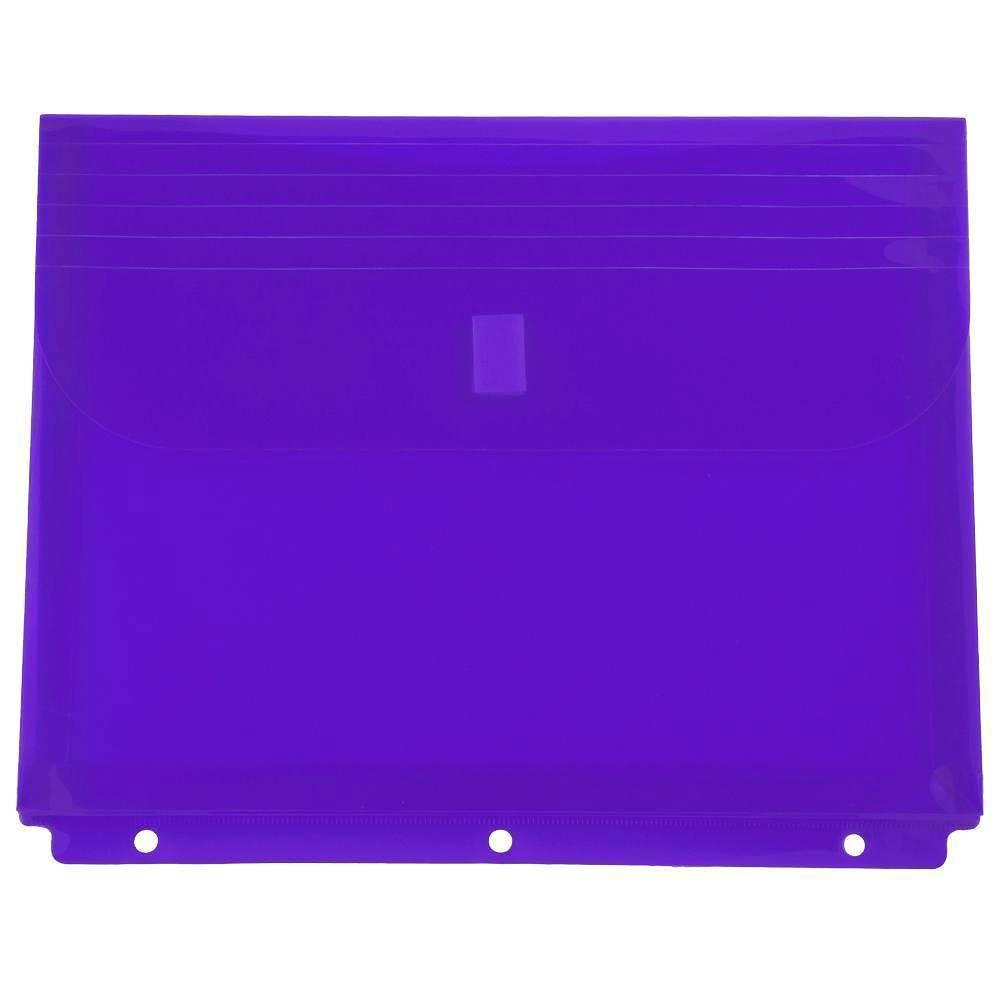 Jam Paper 9 1 2 X 1 1 4 X 11 1 2 12pk Plastic Binder Envelopes With Hook Loop Closure 3 Hole Punch Purple