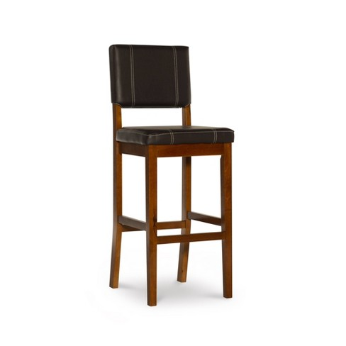 Incredible 29 Milano Padded Bar Stool Upholstered Seat Back Brown Wood Linon Unemploymentrelief Wooden Chair Designs For Living Room Unemploymentrelieforg