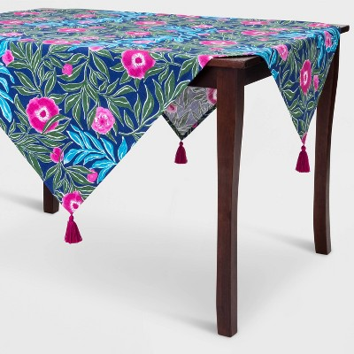 "52"" Cotton Floral Square Tablecloth Blue - Opalhouse™"