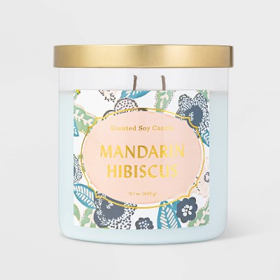 Lidded Jar Mandarin Hibiscus Candle - Opalhouse™
