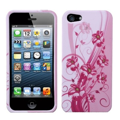 MyBat Blooming Lily Hard Snap-in Case Cover Compatible With Apple iPhone 5/5S/SE, Pink