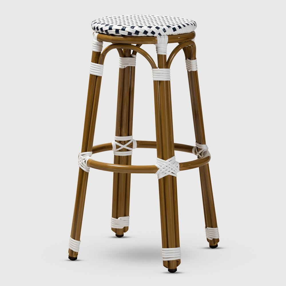 Joelle Indoor and Outdoor Stackable Bistro Bar Stool Navy/White (Blue/White) - BaxtonStudio