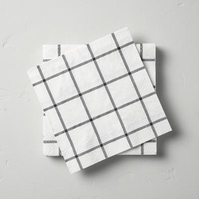 14ct Box Plaid 3-Ply Lunch Napkin White/Gray - Hearth & Hand™ with Magnolia