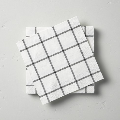 14ct Box Plaid 3-Ply Lunch Napkin White/Gray - Hearth & Hand™ with Magnolia - image 1 of 3