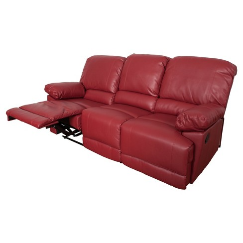 Lea 2pc Red Bonded Leather Reclining Sofa Set Target