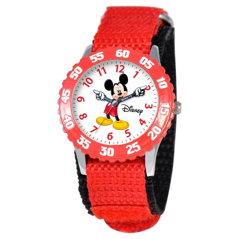 Boys' Disney Mickey Mouse Stainless Steel with Articulating Hands and Bezel Watch - Red - image 1 of 2