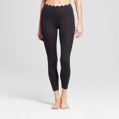 Women's Premium Lightweight High-Waisted Scalloped Leggings - JoyLab™ Black M