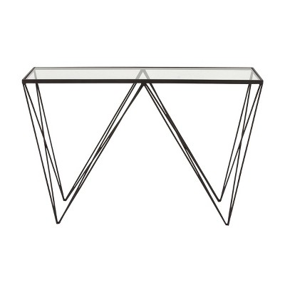 Mid-Century Metal Console Table Black - Olivia & May