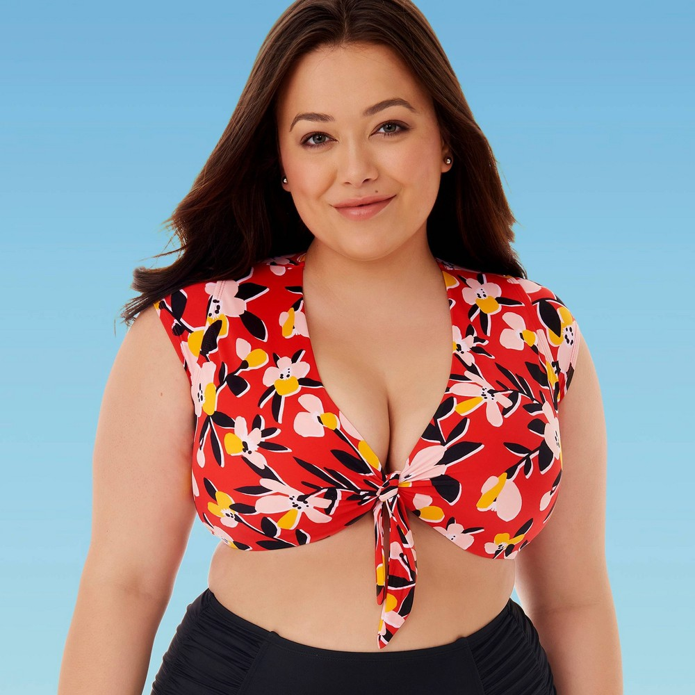 Image of Women's Plus Size Slimming Control Tie Front Bikini Top - Beach Betty By Miracle Brands Red 1X, Women's, Size: 1XL