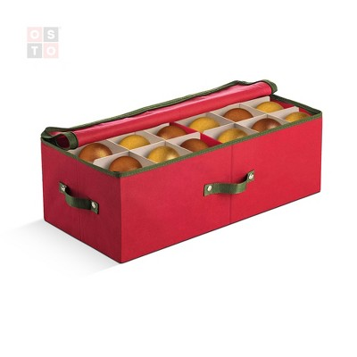 """OSTO Underbed Christmas Ornament Storage Box Stores Up to 72 Ornaments of 4""""; Non-Woven Fabric with Carry Handles, 2-Way Zipper, and Card Slot"""