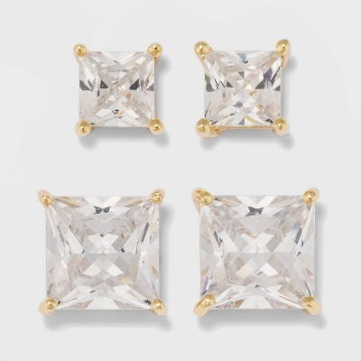 Gold Over Sterling Silver Stud Earring Set 2ct - A New Day™ Clear