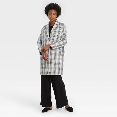 Women's Plaid Overcoat - A New Day™ Gray
