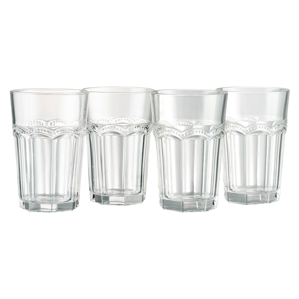 Image of Artland15oz Pearl Ridge Large High Ball Glasses Set of 4, Clear