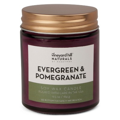 6.5oz Medium Jar Candle Evergreen Pomegranate - Vineyard Hill Naturals By Paddywax