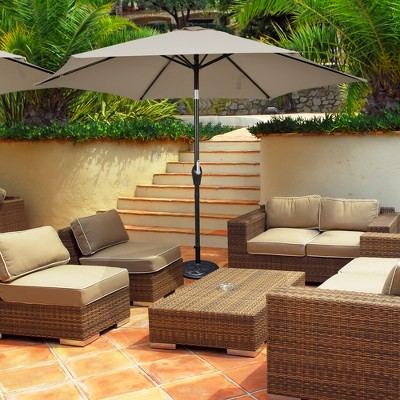Costway 10Ft Outdoor Market Patio Table Umbrella Push Button Tilt Crank Lift Burgundy\Beige\Tan\Blue