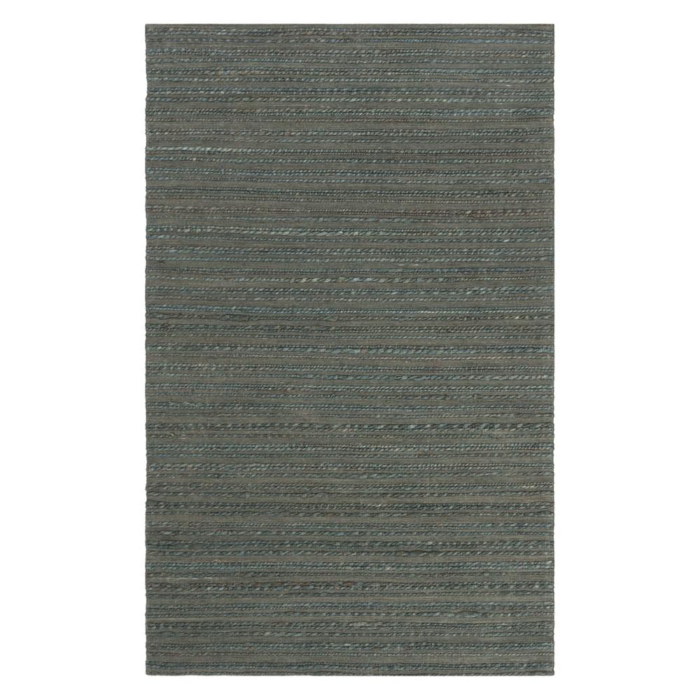 5'X8' Solid Woven Area Rug Dark Green - Safavieh