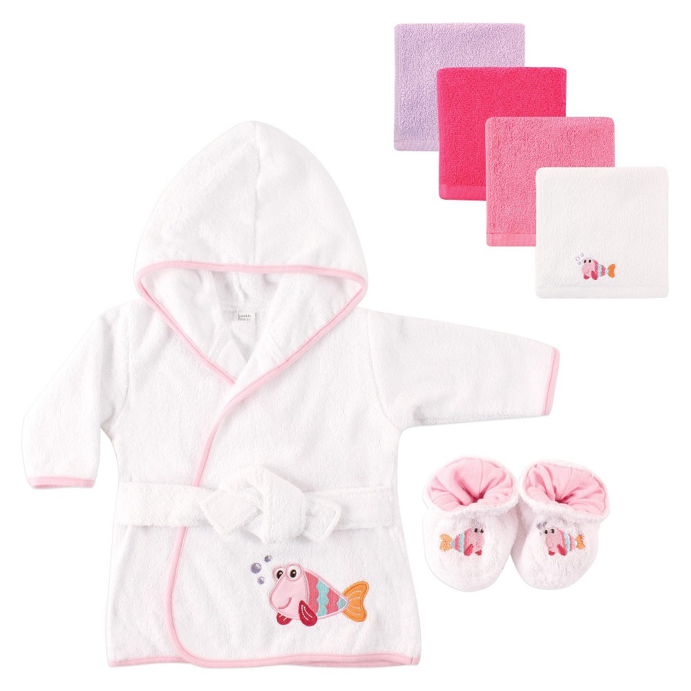 Image of Luvable Friends Baby Hooded Bath Robe Set - Fish, Pink