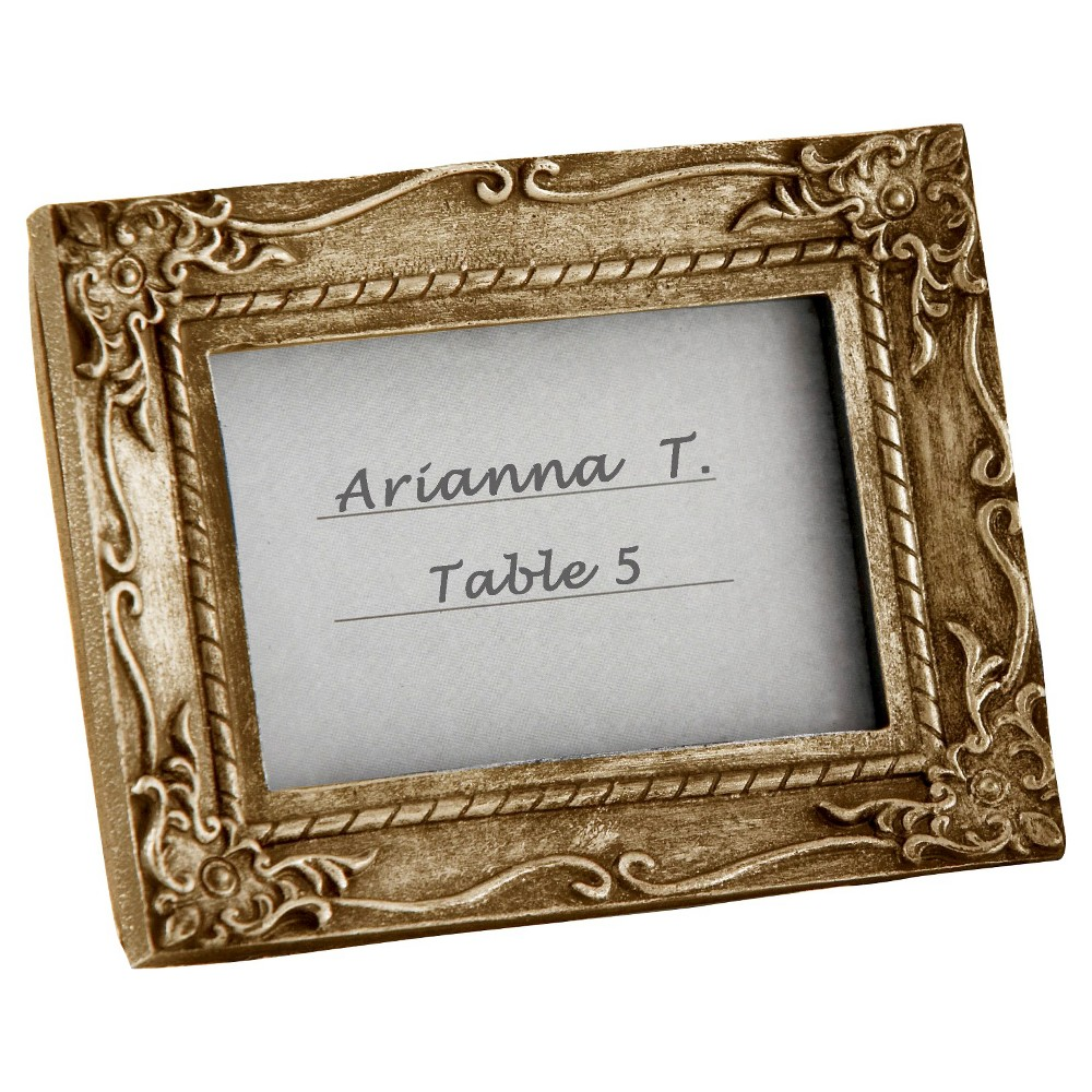 12ct Kate Aspen Work of Art Antique-Finish Place Card Holder/Photo Frame, Silver