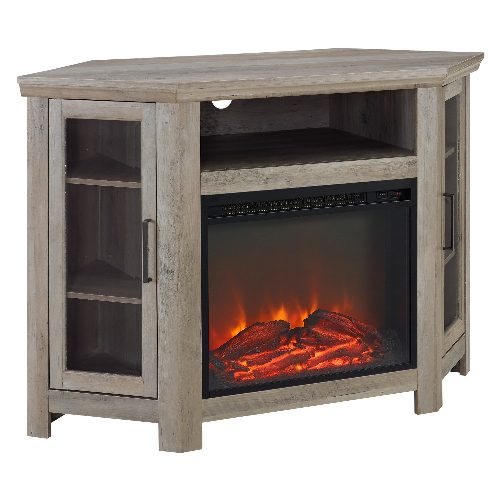 "Image of ""48"""" Wood Corner Fireplace Media TV Stand Console Gray Wash - Saracina Home, Gray Blue"""